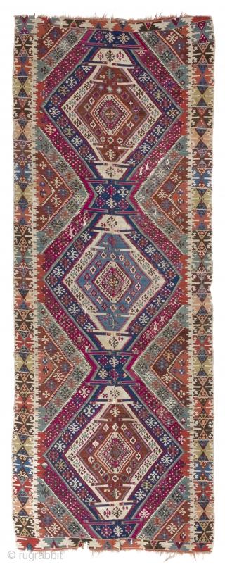 "Colorful Antique Anatolian Reyhanli Kilim, 5' x 13'6"" (152x411 cm)"