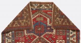 Caucasian Fachralo Kazak Prayer Rug, 3.8 x 4.9 ft. (113x145 cm), late 19th Century. Very good condition with near full pile.