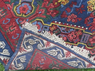 Caucasian Seichur Runner, 11.6 x 3.6 ft (352x110 cm), Full pile and very good condition, original with no repairs, fantastic colours, one small slit in the lower end which can easily be  ...