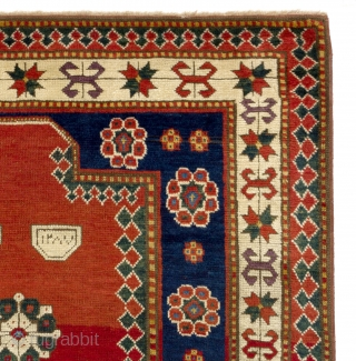 Unique Antique Kazak prayer rug, dated 1870. 4x6 Ft. (120x184 cm).  Wonderful natural dyed colors including purple, two blues, two greens, red, ivory and yellow. Lustrous wool pile, good condition. 14  ...