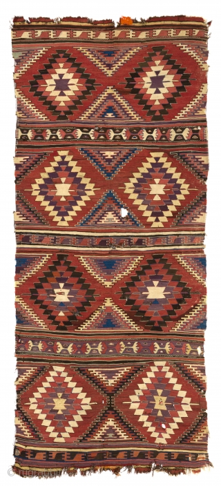 "Antique Central Anatolian Konya Kilim,  ca 1800s. 5'3"" x 9'6"" - 160x380 cm. no 3827"