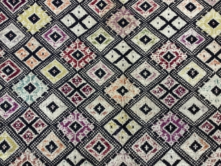 Antique Sardinian textiles from Oristano area in line and wool,most probably a chest cover,partially worn,a hole but still beautiful and rare.Cm.75x250.