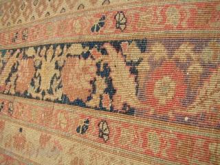 19th C. Haj Jalili Tabriz Carpet. 9.2X13... 280x396 cm. Worn but very decorative.