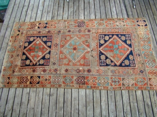 """Antique Anatolian Turkish rug with wear, oxidized brown. Very floppy and soft....49""""X88"""" OR 125X225 Cm"""