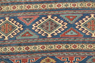 """A beautiful early Shahsevan bag face.  Needs a good cleaning.  Measures 20"""" x 19 1/2"""""""