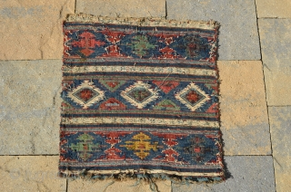 "A beautiful early Shahsevan bag face.  Needs a good cleaning.  Measures 20"" x 19 1/2"""