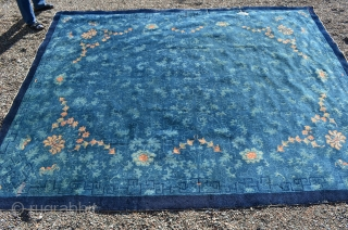 "Chinese Peking rug measures 9'1"" x 11'8"" Overall design floral, vines and wonderful bats throughout, circa 1890."