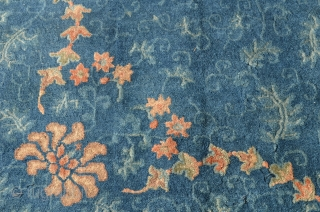 """Chinese Peking rug measures 9'1"""" x 11'8"""" Overall design floral, vines and wonderful bats throughout, circa 1890."""