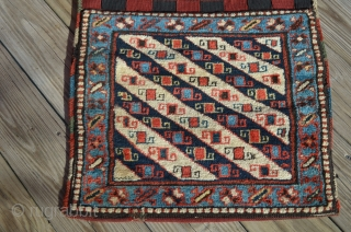 """A pair of Shahsavan Khorjin bags, measuring 22 1/2"""" x 19 1/2"""" each, total overall (connected) length is 52""""."""