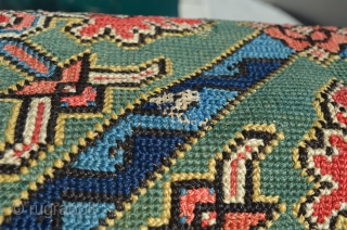 A beautiful, quite early Swedish textile (pillow cover, seat cover).  Wonderful design and colors.  Piece is signed and dated (K.D. and 1811, respectively).  See left and right sides.   ...
