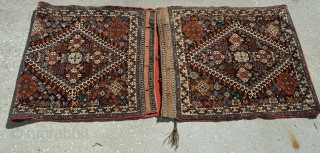"An incredible set of Qashqai bags.  As you can see, they've been opened out and are quite spectacular hanging over anything.   Bag Faces measure approximately 2'1"" wide x 2'4"".  ..."