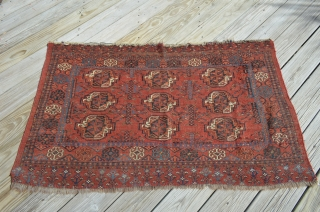 "Ersari Juval late 19th century.  Measures 3' x 4'6"".  A nine guls example with amazing colors.  Age appropriate wear, very nice condition."
