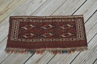 """Yomut 6 Gul Torba.  Diminutive, 13.5"""" x 28"""", Excellent condition."""