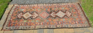 "Northwest Persian Kurdish carpet, great colors, wonderful crab border.  Measures 9'3"" x 4'4"""