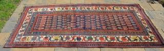 """Southwest Persian Luri (?) Carpet, measures 7'9"""" x 4'.  Multiple borders, wonderful, vibrant colors."""