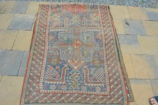 "Beautiful early Akstafa, late 19th century.  Vivid colors, even wear.  Measures 9'3"" x 3'5"""