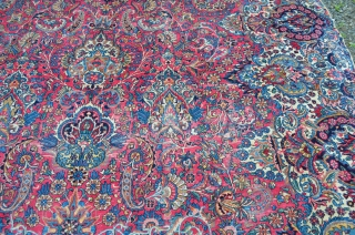 "A very nice overall pattern Kerman, good colors, nice early piece.  A few low areas, see photos.  Reasonably priced.  Measures 9'8"" x 15'9"""