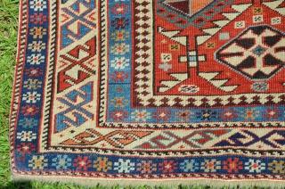 """A beautiful early Kazak Prayer Rug, very nice condition, great colors.  The rug measures 3' 4 1/2"""" x 5' 5 1/2""""."""