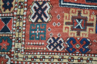 "A very nice Kurdish carpet, circa 1900.  Measures 11'1"" x 5'6"".  Slight restoration to low browns."