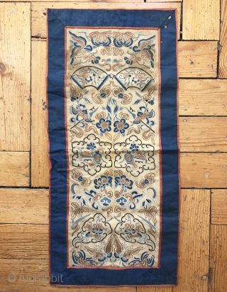 An exceptional antique Imperial Chinese silk embroidery from Qing / Ching / Tsing dynasty dating to the 19th century. This magnificent hanging is made of a combination of metal and silk embroidery  ...