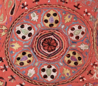 An exceptional antique Central Asian silk embroidered horse blanket / saddle cover.  Dating to the third quarter of 19th Century, this fine ethnographic embroidery is attributed to the Uzbek people and  ...