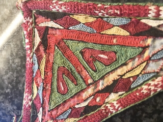 One of the best examples of Antique Ersari Turkoman / Turkmen Talismanic silk embroidery tawees / moska, dating to mid - third quarte 19th century. Such fine triangular silk embroideries were known  ...