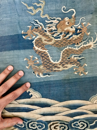 A museum grade antique Imperial Chinese deagon silk woven textile from early Qing / Ching / Tsing Dynasty, likely dating to early 18th century. It is a fantastic piece of textile art,  ...