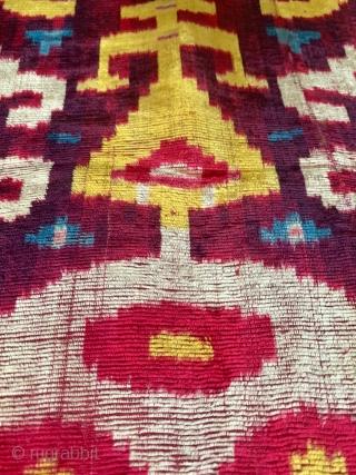 An excellent museum grade antique Uzbek silk velvet / Bakhmal Ikat fragment dating to the 19th century Bukhara. Silk velvet Ikats are some of the most coveted of all Central Asian Ikats.  ...