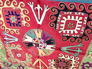 An outstanding example of antique Uzbek Lakai tribe silk embroidery known as Ilgich / Ayna Khalta. Dating to the 19th century, this gorgeous bridal textile was mirror bag cover as part of  ...