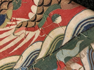 A museum grade and very rare Antique imperial 17th century Chinese Ming dynasty dragon golf and silk Kesi fragment. This is one of the rarest type of textile One can find. The  ...