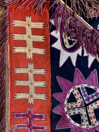 An excellent antique Uzbek Lakai silk embroidered ayna khalta / ilgich, dating to late 19th century. This envelope shaped talismanic hanging with a false flap represents the wedding ceremonial mirror bags. This  ...