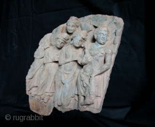 """Gandhara Frieze, Grey Schist Stone, 2nd to 3rd century, NW Frontier, Pakistan. 17""""tall x 14""""wd. Please contact us for price and further details."""