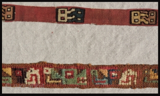 Three Pre-Columbian textile strips. The earliest piece dates to B.C.200 - B.C. 100.  The two other pieces date from A.D. 500 - 800.  All are very finely woven and about  ...