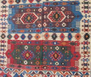 """Aydinli Anatolian Kilim, 1st half 19th century, beautiful color and condition - complete. Size: 4'10"""" x 11' 7""""."""