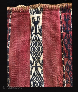 Pre-Columbian Coca bag.  Far South Coast of Peru.  A.D. 900 - A.D. 1400.  This bag shows abstracted renditions of repeating frog motifs in the central design band.  Also  ...