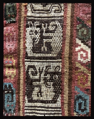 """A rare type of pre-Columbian bag. a.d. 1000 - 1400. It is a very large, ceremonial coca bag (17"""" x 11"""") with fantastic creatures that are different on each face of the  ..."""