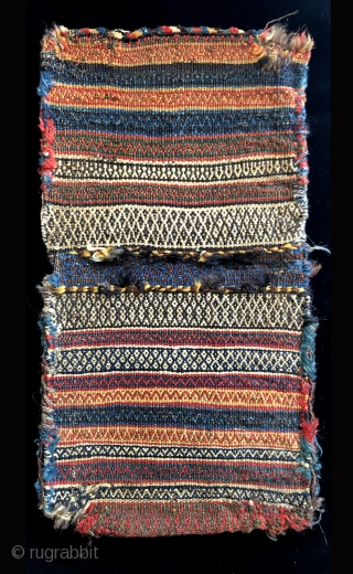 South Persian, Luri miniature bag set. Size: 23.5 x 12.5 inches.  Great soft pile.  Beautiful back and nice naturally dyed colors. 19th century.