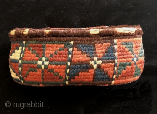 19th century South Persian basket.  Wool wrapped reeds.  Complete and in good condition.  This is an old one with great natural dyes.  The orange is good, definitely not  ...