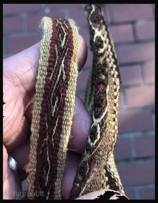 """Complete warp-faced patterned Andean coca bag.  A.D. 900 - 1200. The design is primal - made by simply alternating warp yarns to create a """"zipper-like"""" pattern.  This is a way  ..."""
