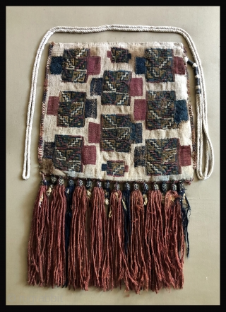 Rare white ground Pre-Columbian bag. Late 15th to early 16th century.   Bags with this technique are known to be from the Chuquibama region of the South Central Andes near the  ...