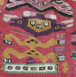 Pre-Columbian, tapestry textile. a.d. 1000 - 1400.  Exceptional color, rare green, strong yellow and deep purple among other beautiful hues. Interesting figures. Far from your typical Chimu textile, this piece is  ...