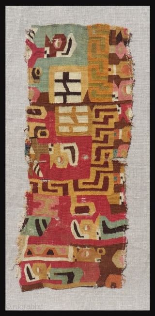 The wonderful graphic quality of this one of a kind Wari tunic fragment speaks for itself, but a careful explanation of its imagery will certainly enhance ones appreciation for this beautiful textile  ...
