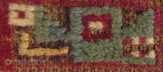 Pre-Columbian Pile Strip with Feline and Raptor Profile Heads Peru, Wari Culture 500 – 800 A.D.  Please visit our online exhibition: Andean Textile Traditions.