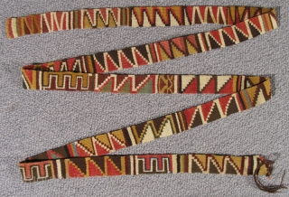 """Pre-Columbian Belt Peru, Nasca Culture 500 – 800 A.D. Length: 76"""" (193 cm) Width: 1.25"""" (2.5 cm)   Please visit our online exhibition: Andean Textile Traditions."""