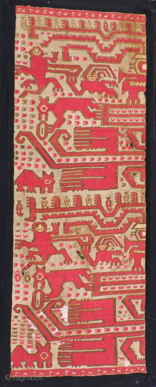 Spectacular large complete Chimu panel.  25 x 68 inches. This super rare Chimu textile has a strong graphic quality and real impact.  It features what appear to be monkeys, coatimundi,  ...