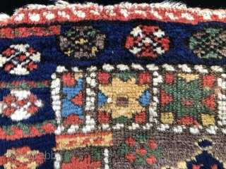Super rare pile piece. Based on color and design it is likely a Shakak Kurd bag face. This design group has been associated with Shakak Kurds who were known to inhabit an  ...
