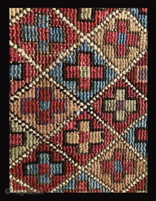 Mind altering color! This Moghan or Shahsevan bag face in an extra wrap wrapping technique is over the top in beautiful color and lustrous wool.  Pure poetry.  Missing its lower  ...