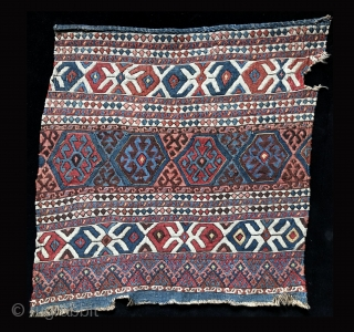 """Rare and old, this """"weftless sumak"""" (simple weft-wrapping) bag face is fine and exceptional. The colors and patina are beautiful and the subtle, sculpted-like surface that is inherent to so-called """"weftless """"structures  ..."""