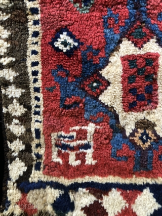 NW Persian/Trans Caucasian bag face.  Glossy, thick pile, great color and a bold design. Unusual and charming. Size: 16 x 20 inches.