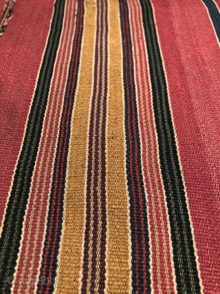 Aymara man's ceremonial poncho (ponchito). Before 1825.   Altiplano region of Bolivia. This is a soulful old piece with deep, rich color. The proportion, scale and colors of the banding are  ...